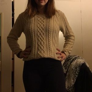 Relaxed cable knit sweater with elbow pads